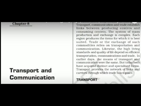 Class 12th Ncert | Geography | Ch- 8 | Transport and Communication (Part-1)