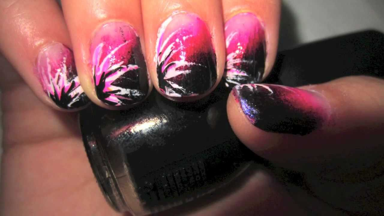 EXCLUSIVE pUnK RoCk Nail Design ~ Fading PINK to BLACK - YouTube