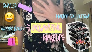 Organizing My Makeup | Updated Makeup Collection + Nail Appointment & Goody Bag Party Shopping 🛒
