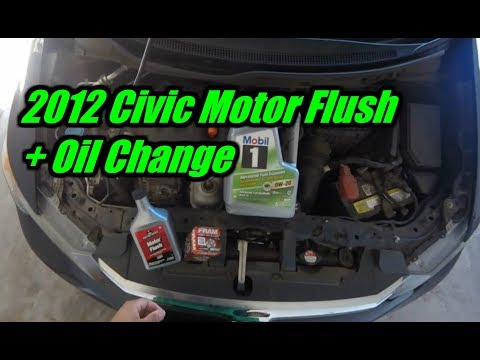 2012 Honda Civic 1.8L Motor Flush + Mobil 1 Oil Change Tutorial