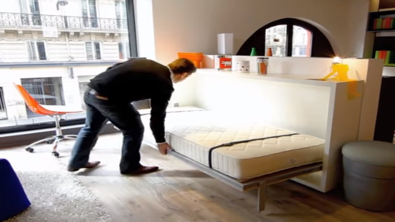 armoire lit escamotable poppi 90 bimodal par la maison du convertible youtube. Black Bedroom Furniture Sets. Home Design Ideas