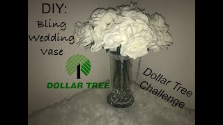 D.I.Y. Bling Wedding Vase (Dollar Tree Challenge)