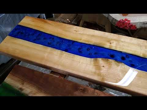 Live Edge River Coffee Table - Cherry Wood and Epoxy - Final review Jimena