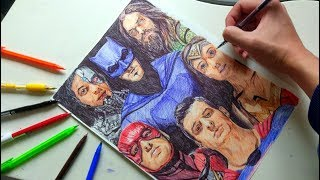 DRAWING JUSTICE LEAGUE with ballpoint pen