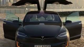 Lucky pretty girl with amazing Tesla car