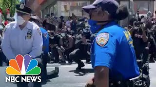 New York Police Officers Prompt Cheers As They Take The Knee With Protesters | NBC News