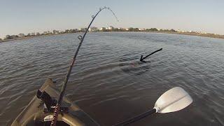 Bull Redfish Takes Inshore Kayak Fisherman For A Joyride! (fish Pulls Hook)