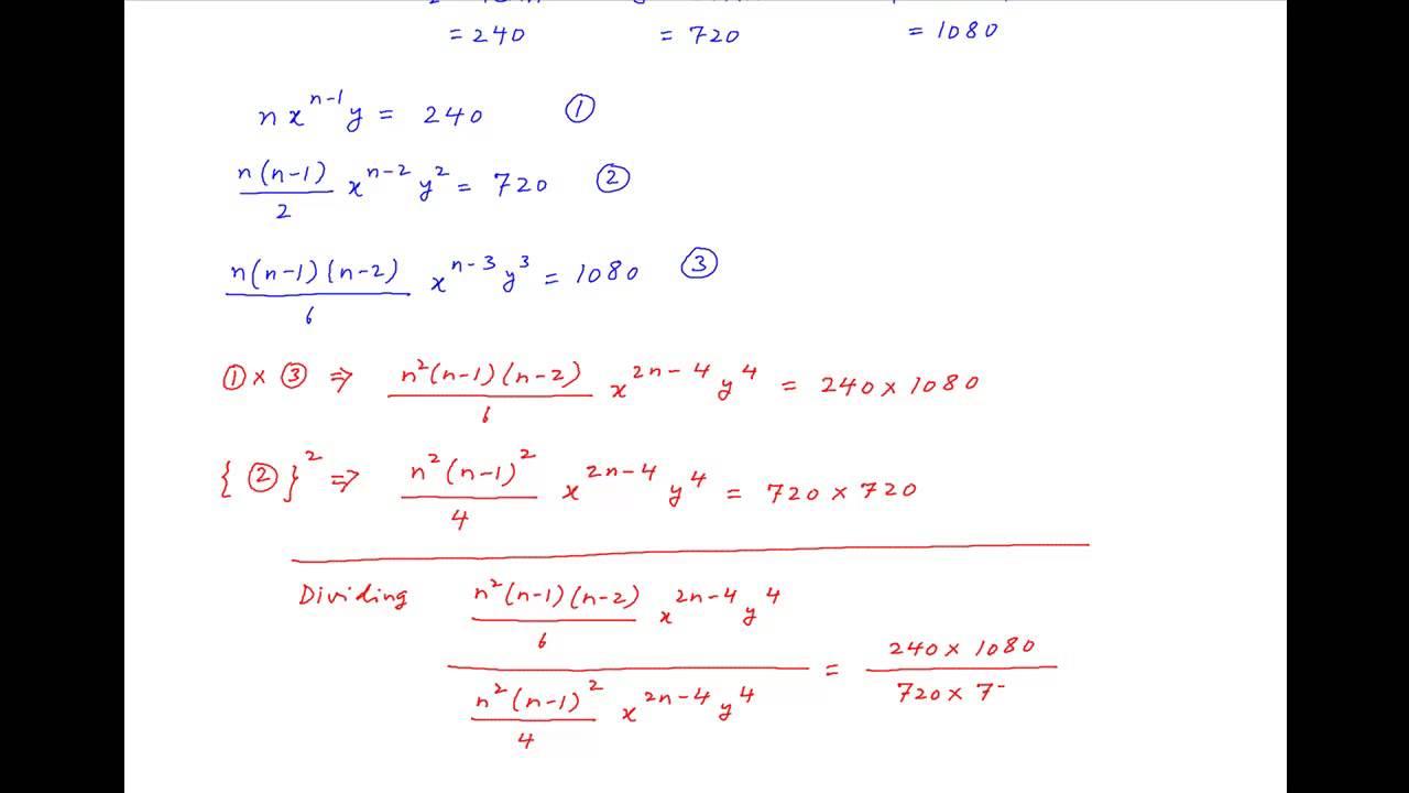 Find x, y, n if 2nd, 3rd, 4th terms in expansion of (x+y ...