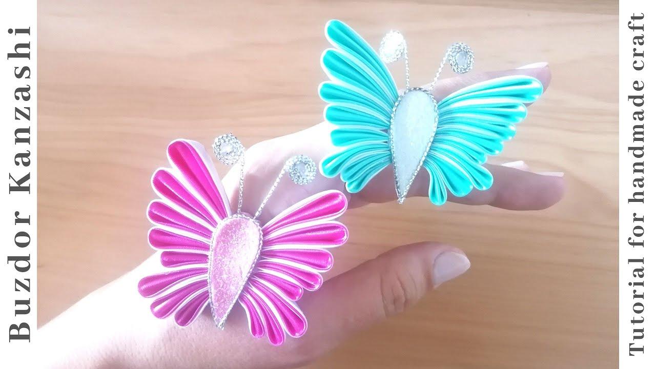 kanzashi pillangó , szatén pillangó készítése / Kanzashi butterfly