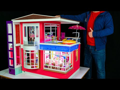 How to Make a Miniature Two story Dollhouse with a Barbie Elevator! Kitchen, bar, pool with light!
