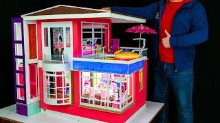 Как сделать миниатюрный двухэтажный кукольный домик с лифтом Барби! Кухня, бар, бассейн со светом!