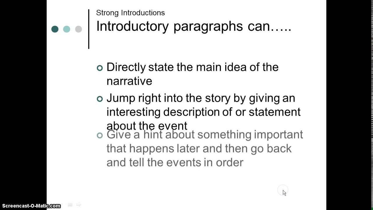 personal narrative essay introduction Structure of a personal narrative essay introduction the moral of the story the conclusion of a narrative include the closing action of the event.