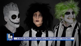 8 News Now Staff Haunts Skin City Body Painting