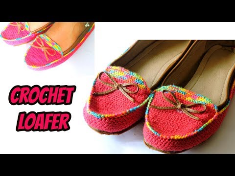 Crochet shoes with old shoes || How to crochet Loafer || DIY Crochet shoes at home ||