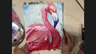 Knife Painting Tutorial - Pink Flamingo (Easy)