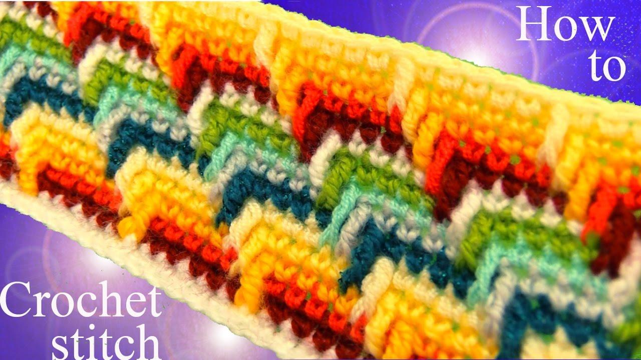 Como tejer punto maravilloso arcoíris a Crochet en rectángulo para ...