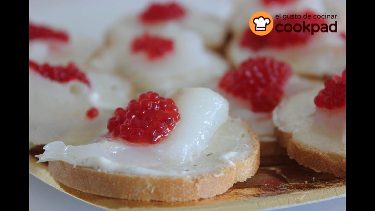 Canap s faciles de bacalao ahumado y caviar rojo for Canape de caviar