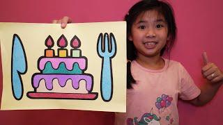 BÉ BÚN TÔ MÀU TRANH CÁT BÁNH KEM SINH NHẬT - Sand Painting Birthday Cake