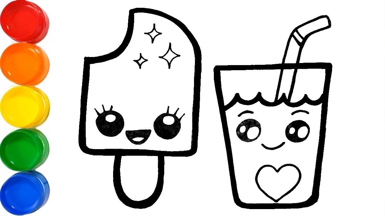 Como Dibujar Helado y Bebida Kawaii - Aprende Colores Pintando - Learn  Colors /FunKeep Art - YouTube
