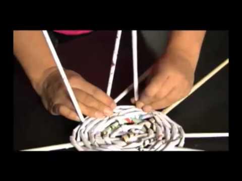 Canasta de papel youtube - Hacer cestas con papel de periodico ...
