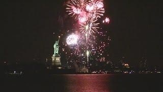New Year 2015 Fireworks.  New York City harbor