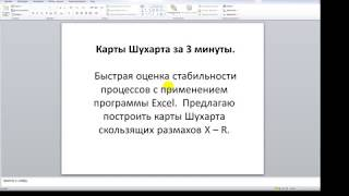 Карта Шухарта за 3 минуты в программе Excel