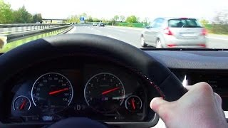 BMW M5 F10 Kickdown 100-270 km/h Acceleration on German Highway Autobahn Onboard Driver View