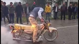 MOTORSİKLET LASTİK YAKARSA