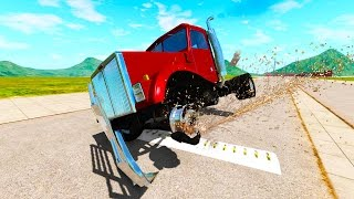 BeamNG Drive - DRAG TRUCK VS SPIKE STRIPS