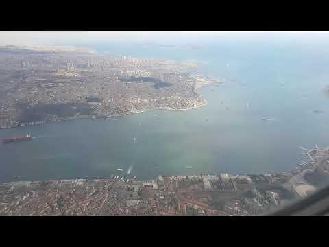 A long approach into Istanbul Atatürk Airport. See Bosphorus, Marmara Sea, Galata Bridge.