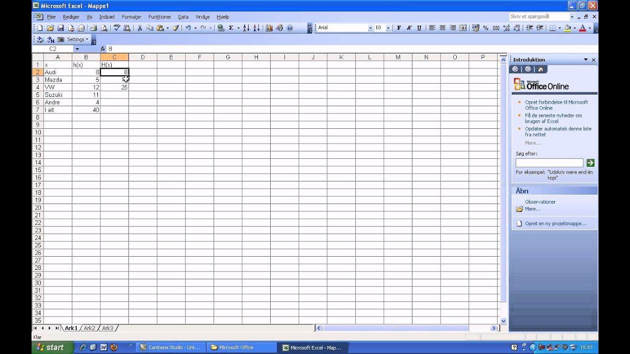 Kumuleret hyppighed - Excel