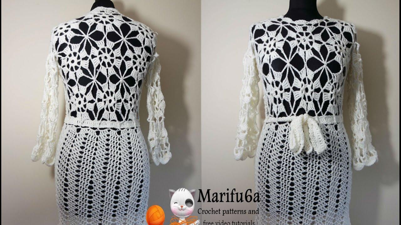 10742d996 How to crochet white dress tunic pattern by marifu6a - YouTube