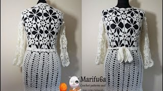 Repeat youtube video How to crochet white dress tunic pattern by marifu6a