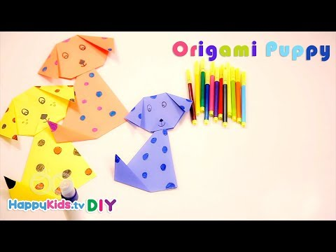 Origami Puppy Dog | Paper Crafts | Kid's Crafts And Activities | Happykids DIY