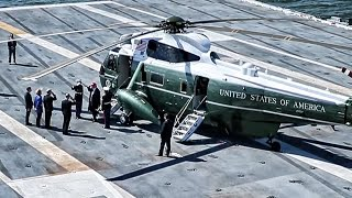 President Trump Visits US Aircraft Carrier On Marine One