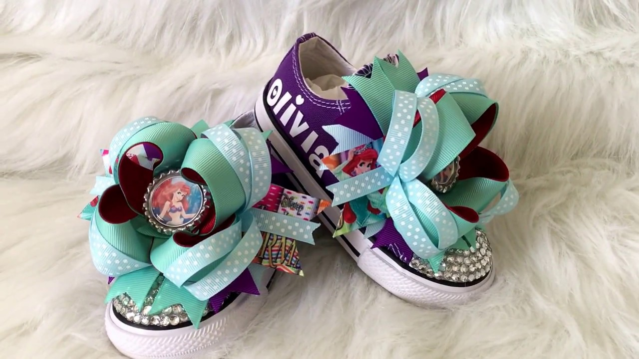b2a7a8137e25 Disney Little Mermaid Bling Converse - Princess Ariel Bling Shoes -  Boutique Hairbows