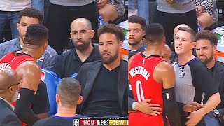 Russell Westbrook Wanna Fight Entire Warriors & Exchanges Words With Klay Thompson In Ejection!