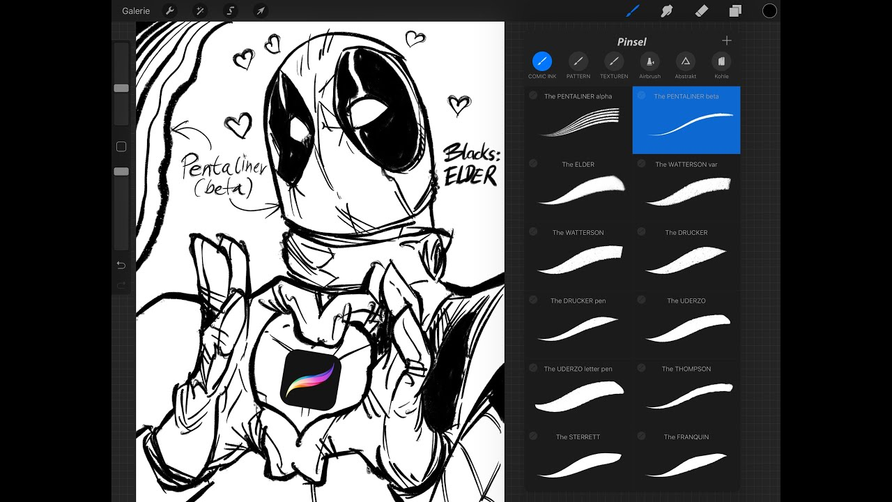 FREE Procreate Ink Brush Set for Comics, Cartoons & Illustrations