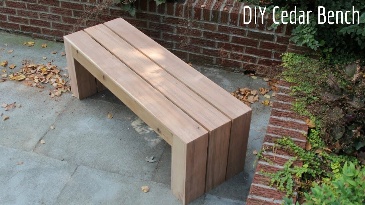 Diy Cheap Modern Outdoor Cedar Bench 2x4 Build 60 Youtube
