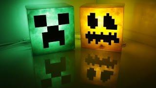 DIY Minecraft lamp_ creeper and pumpkin jack-o'-lantern(Happy Halloween)