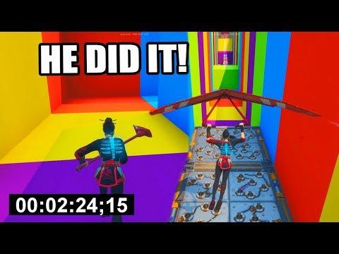 2:24 WORLD RECORD Rainbow Default Deathrun! (Fortnite Creative)