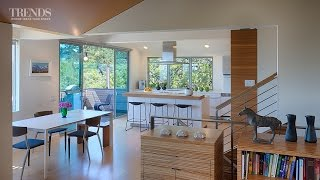 Modest, Open-plan Familykitchenwith Walnut Cabinetry, Central Island Andoakfloors