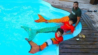 Mermaids Swimming in Our Pool! Kids pretend play ,funny videos for kids