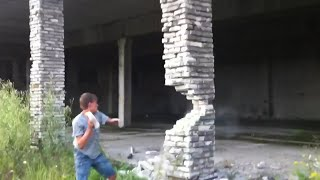 Guy Collapses Building