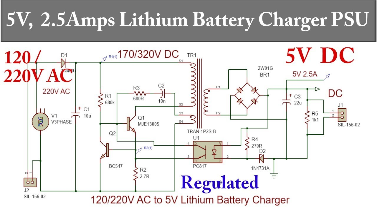 Simple DIY 5V 2 5A Li-Ion Battery Charger Power Supply