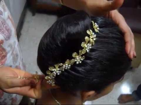 Hair Style French Roll With Decoration Youtube