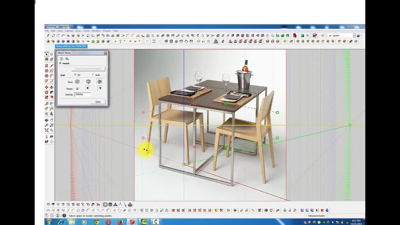 How to draw chair and table in sketchup youtube for Table design sketchup