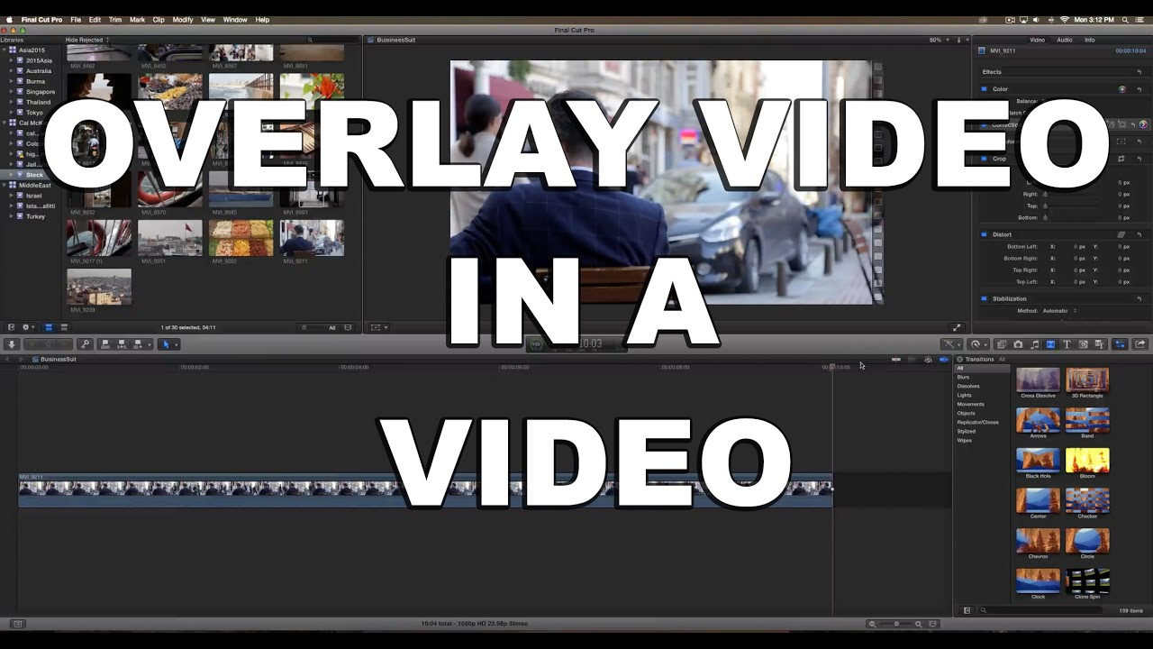 Final Cut Pro X Tutorial: How to Overlay a Video in another Video (Picture  in Picture Feature!)