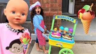 Sally PRETEND PLAY selling  ICE CREAM from ice cream CART!! Funny video For Kids