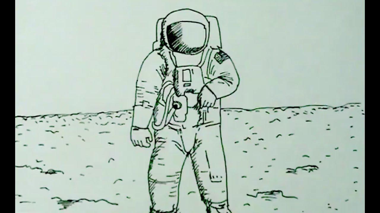 Cohete De Astronauta Y Vintage De Dibujos Animados: Cómo Dibujar Un Astronauta En La Luna